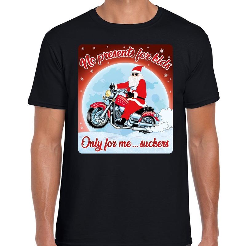Fout kerst shirt voor motorliefhebbers no presents zwart heren