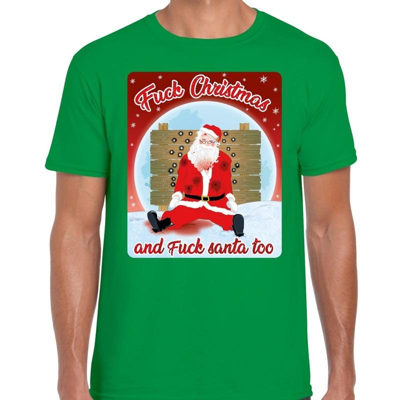 Fout kerst t-shirt fuck christmas groen voor heren