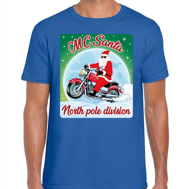 Fout kerst t-shirt MC Santa voor motorliefhebbers blauw heren