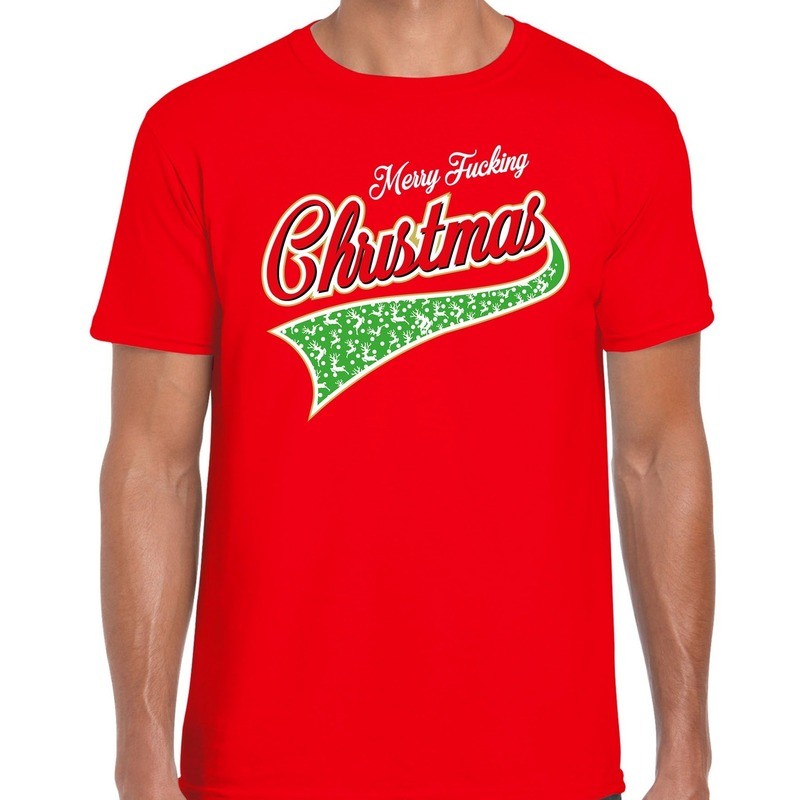 Fout kerst t-shirt merry fucking Christmas rood voor heren