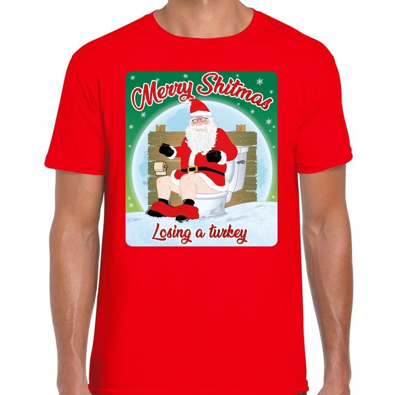 Fout kerst t-shirt merry shitmas turkey rood voor heren