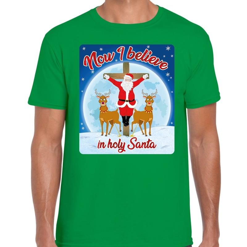 Fout kerst t-shirt now I believe groen voor heren