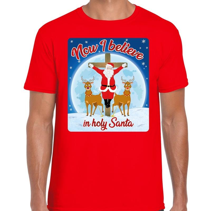 Fout kerst t-shirt now I believe rood voor heren