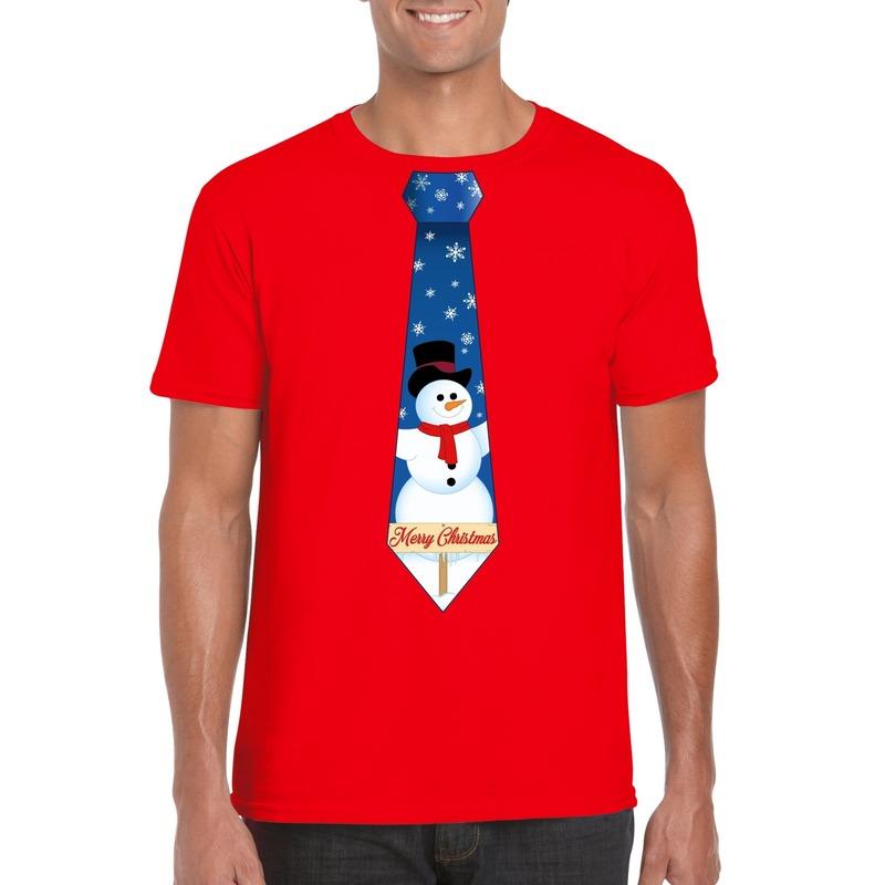 Fout kerst t-shirt rood met sneeuwpop stropdas voor heren