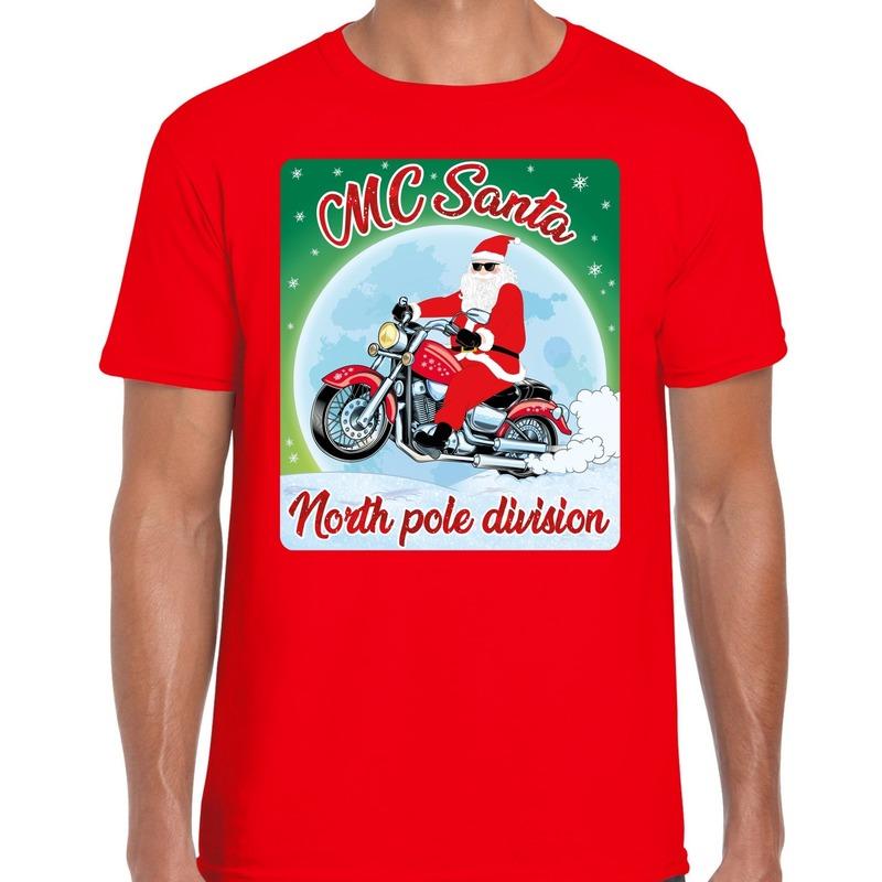 Fout kerst t-shirt voor motorliefhebbbers MC Santa rood heren