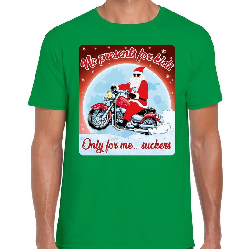 Fout kerst t-shirt voor motorliefhebbers no presents groen heren