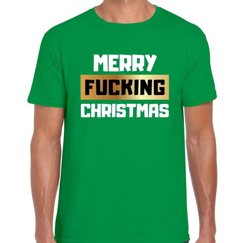 Fout Kerstshirt merry fucking christmas groen voor heren