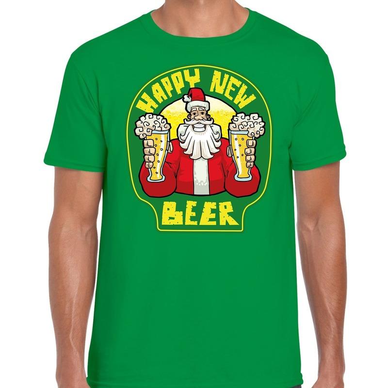 Fout Nieuwjaar - Kerstshirt happy new beer - bier groen heren