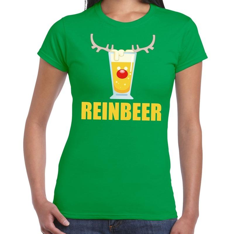 Foute Kerst t-shirt Reinbeer groen voor dames