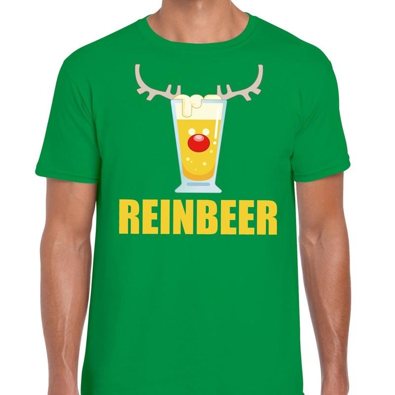 Foute Kerst t-shirt Reinbeer groen voor heren