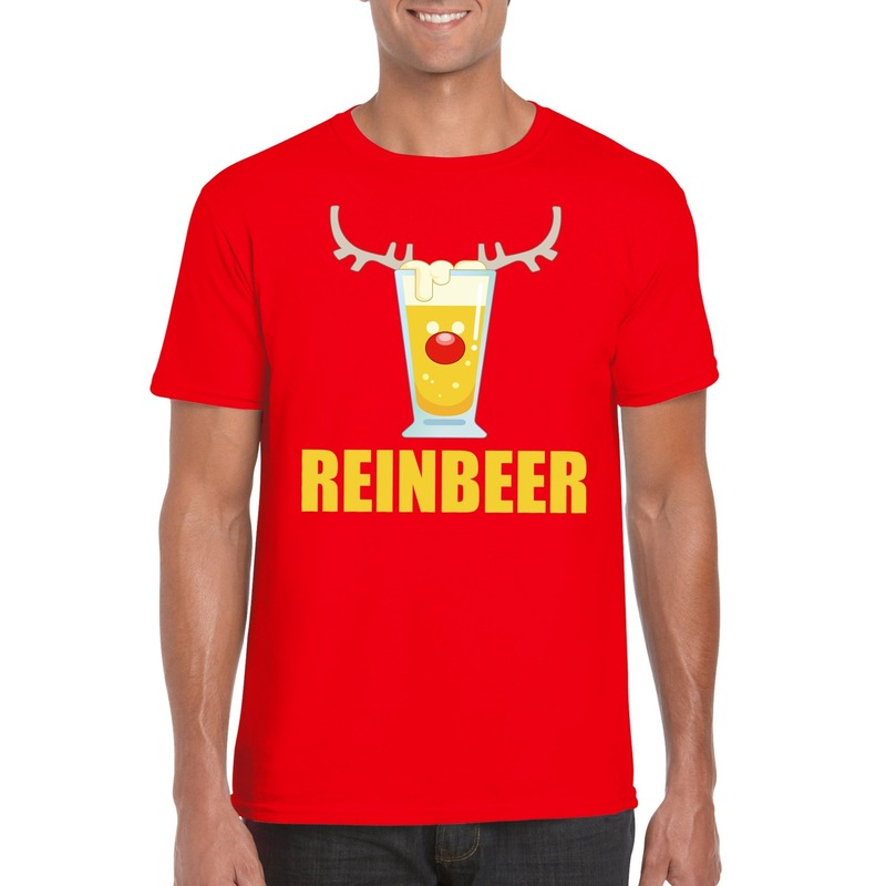 Foute Kerst t-shirt Reinbeer rood voor heren
