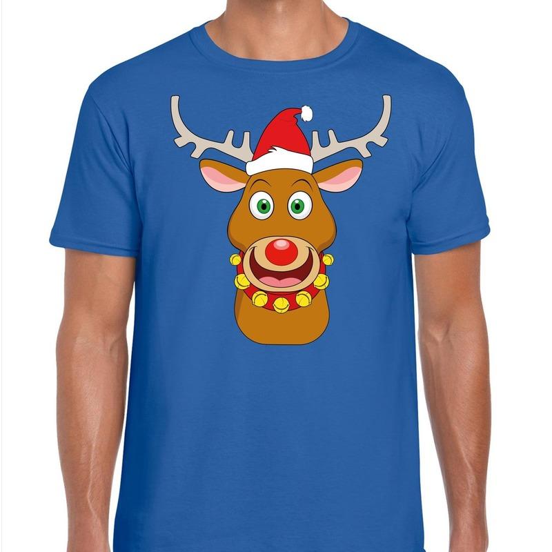 Foute Kerst t-shirt rendier Rudolf rode kerstmuts blauw heren