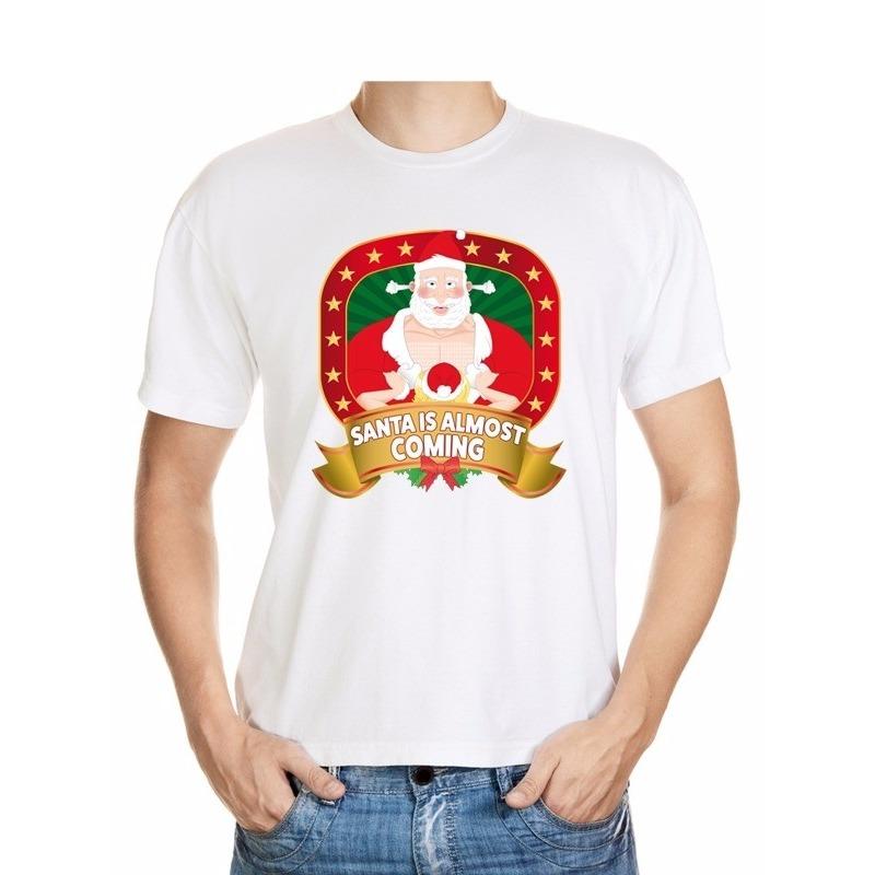 Foute Kerst t-shirt Santa is almost coming voor heren