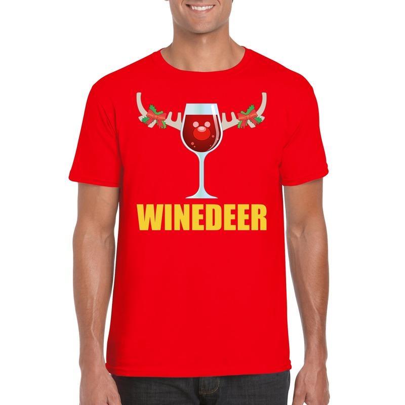 Foute Kerst t-shirt Winedeer rood voor heren