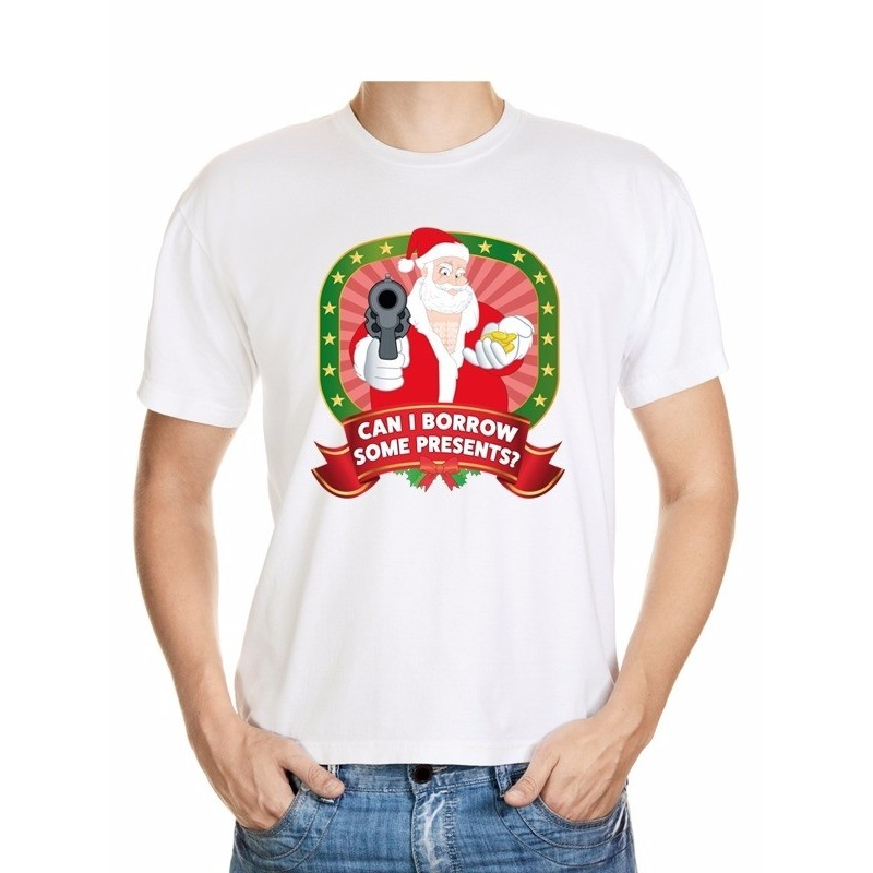 Foute Kerst t-shirt wit can I borrow some presents voor heren