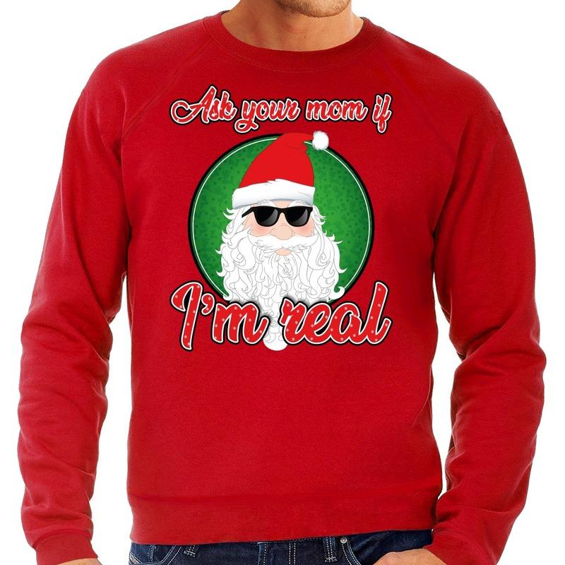 Foute Kersttrui ask your mom rood voor heren