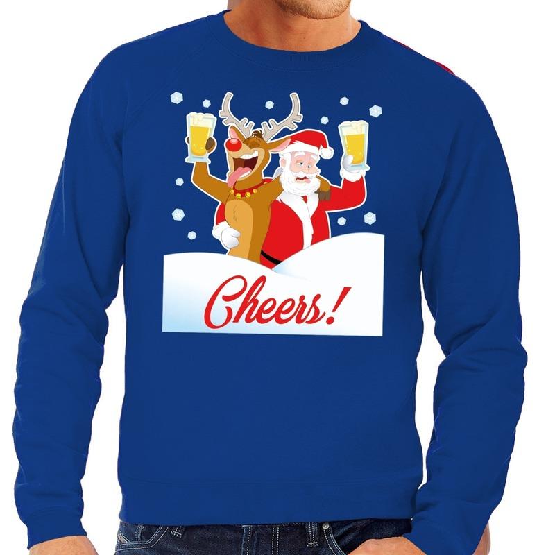 Foute kersttrui cheers met dronken kerstman blauw heren