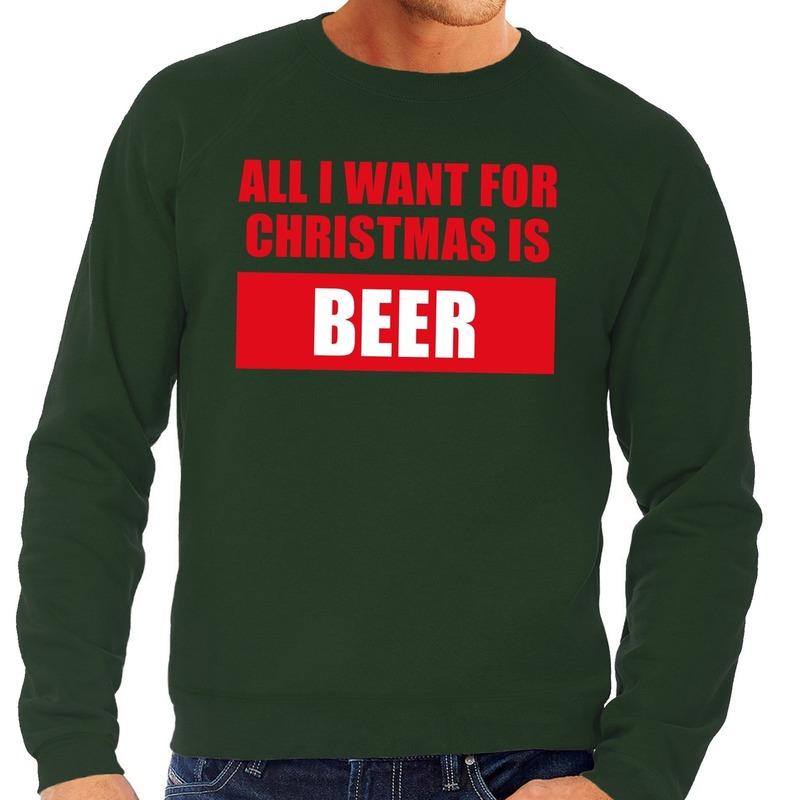 Foute kersttrui Christmas Beer groen voor heren