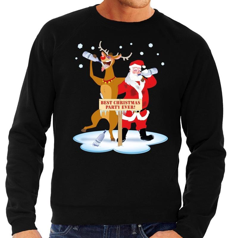 Foute kersttrui dronken kerstman en rendier Rudolf zwart heren