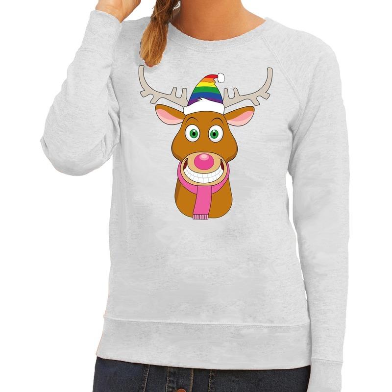 Foute kersttrui Gay Rudolf het rendier grijs dames