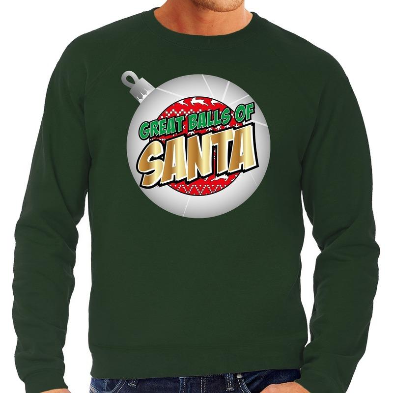 Foute Kersttrui Great balls of Santa groen voor heren