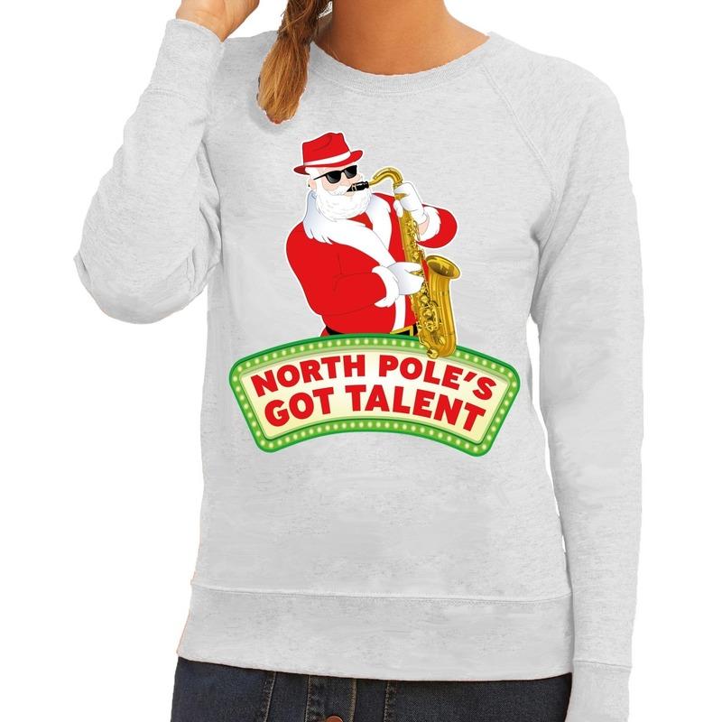 Foute kersttrui grijs North Poles Got Talent voor dames