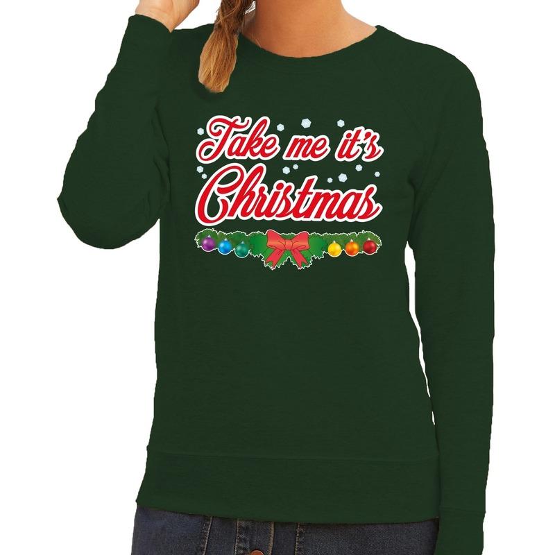 Foute kersttrui groen Take Me Its Christmas voor dames