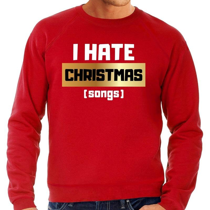 Foute Kersttrui I hate Christmas songs rood voor heren