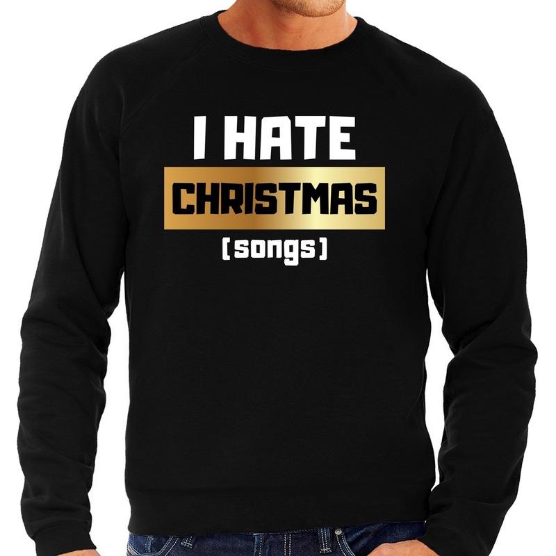 Foute Kersttrui I hate Christmas songs zwart voor heren