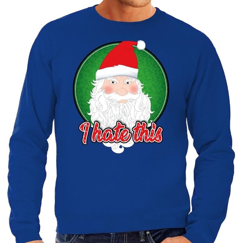 Foute Kersttrui I hate this blauw voor heren