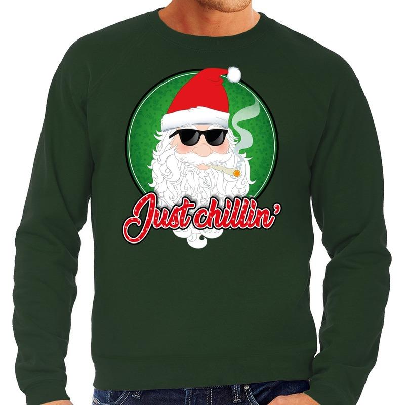 Foute Kersttrui just chillin groen voor heren
