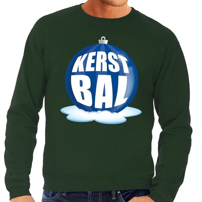 Foute kersttrui kerstbal blauw op groene sweater voor heren