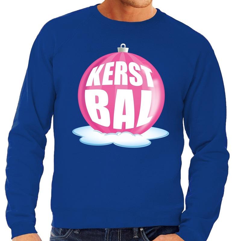 Foute kersttrui kerstbal roze op blauwe sweater voor heren