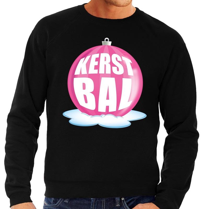 Foute kersttrui kerstbal roze op zwarte sweater voor heren
