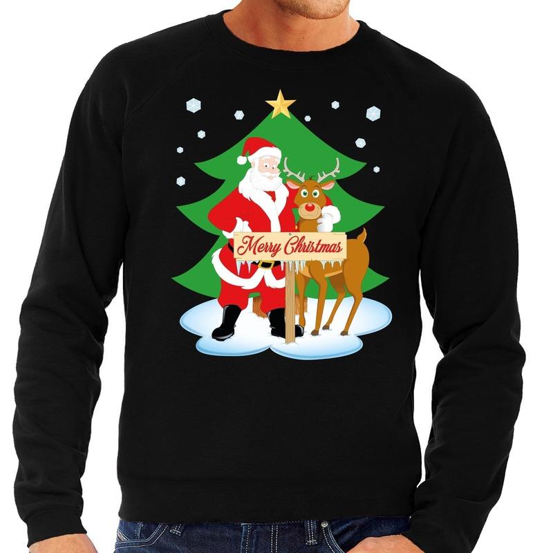 Foute kersttrui kerstman en rendier Rudolf zwart heren