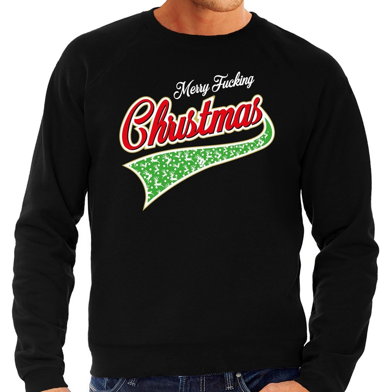 Foute Kersttrui Merry fucking christmas zwart voor heren