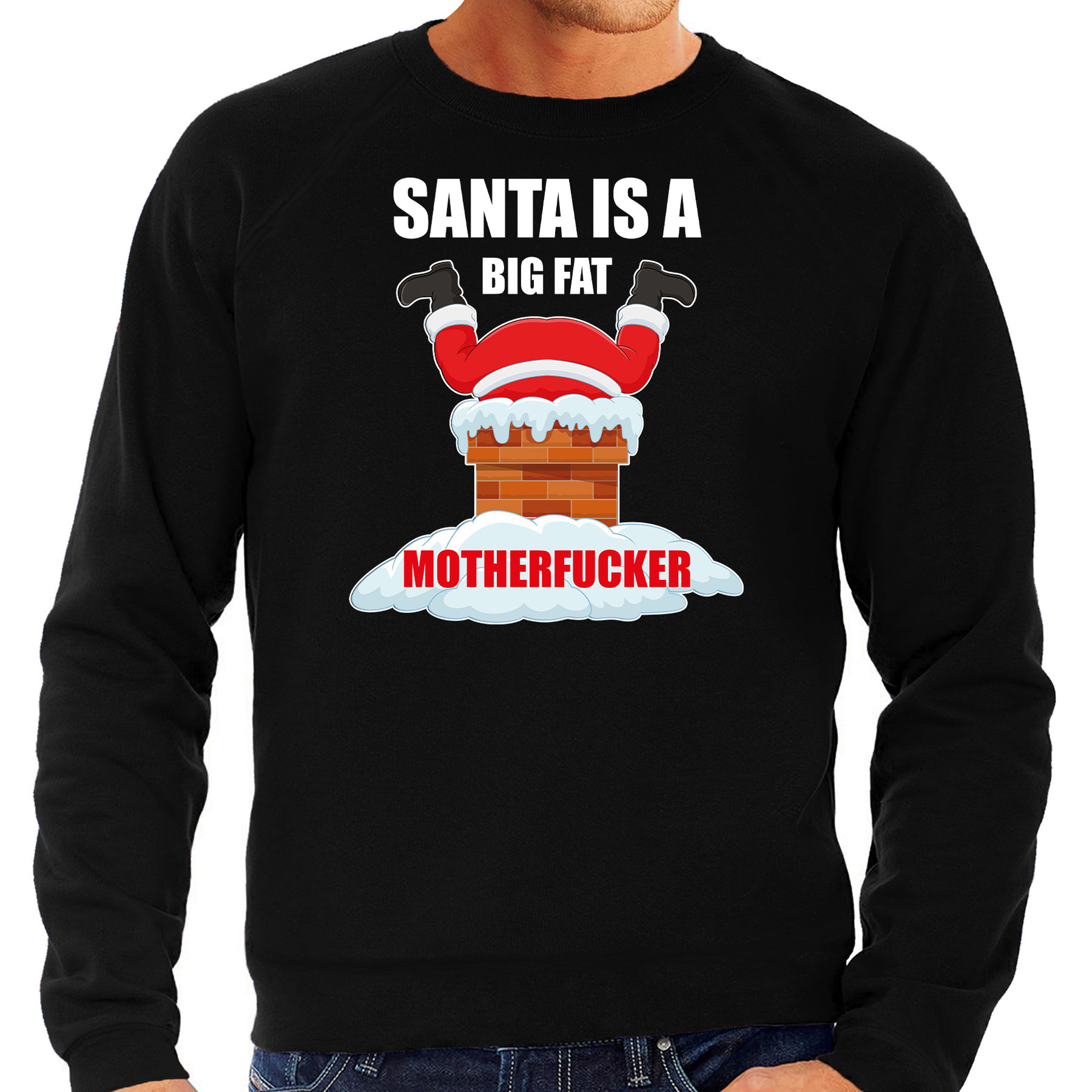 Foute Kersttrui - outfit Santa is a big fat motherfucker zwart voor heren