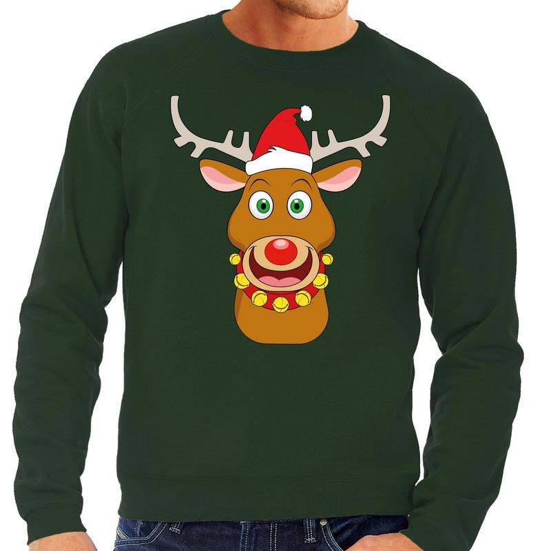 Foute kersttrui rendier Rudolf met rode kerstmuts groen heren
