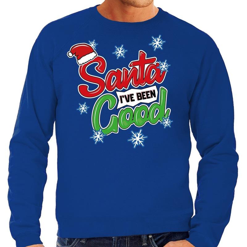 Foute Kersttrui Santa I have been good blauw voor heren