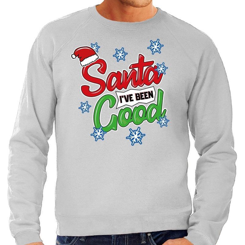 Foute Kersttrui Santa I have been good grijs voor heren