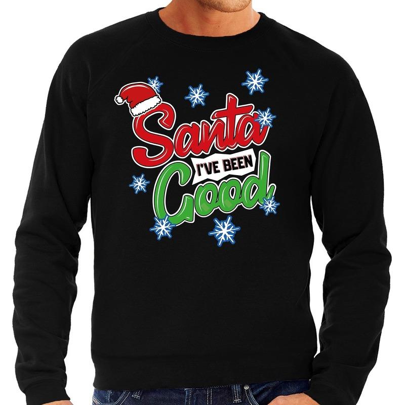 Foute Kersttrui Santa I have been good zwart voor heren