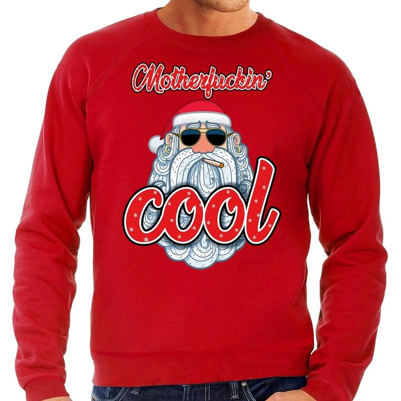Foute Kersttrui stoere kerstman motherfucking cool rood heren