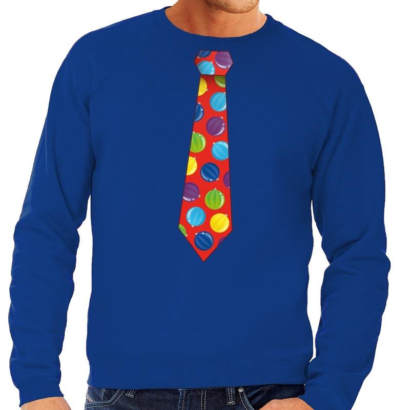 Foute kersttrui stropdas met kerstballen print blauw voor heren
