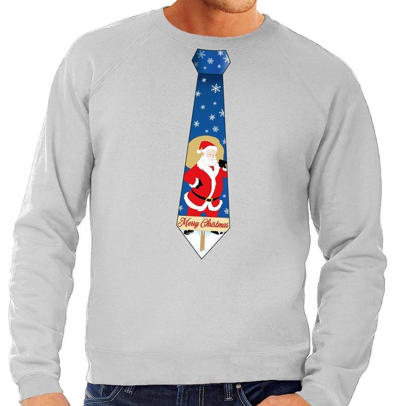 Foute kersttrui stropdas met kerstman print grijs voor heren