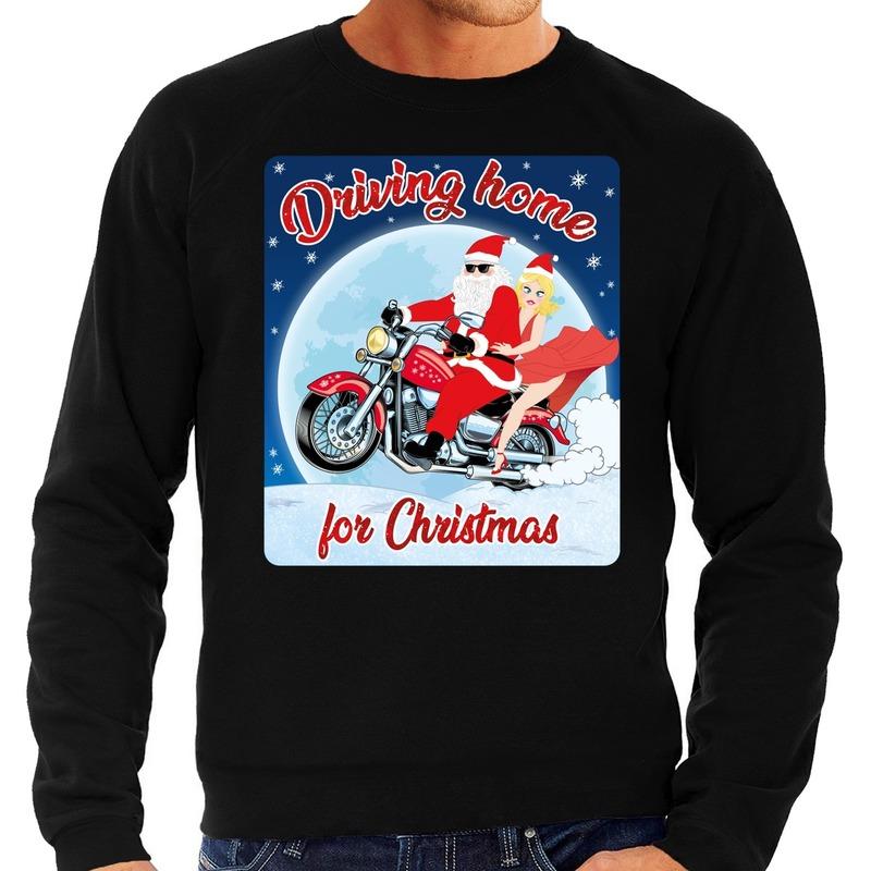 Foute kersttrui voor motorliefhebbers driving home wart heren