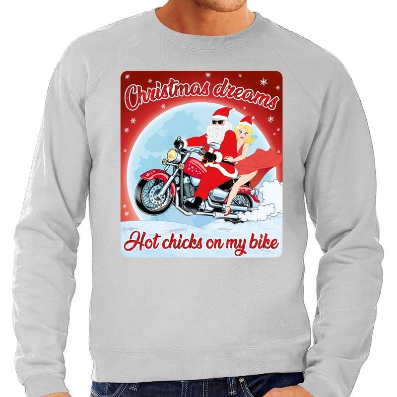 Foute kersttrui voor motorliefhebbers hot chicks grijs heren