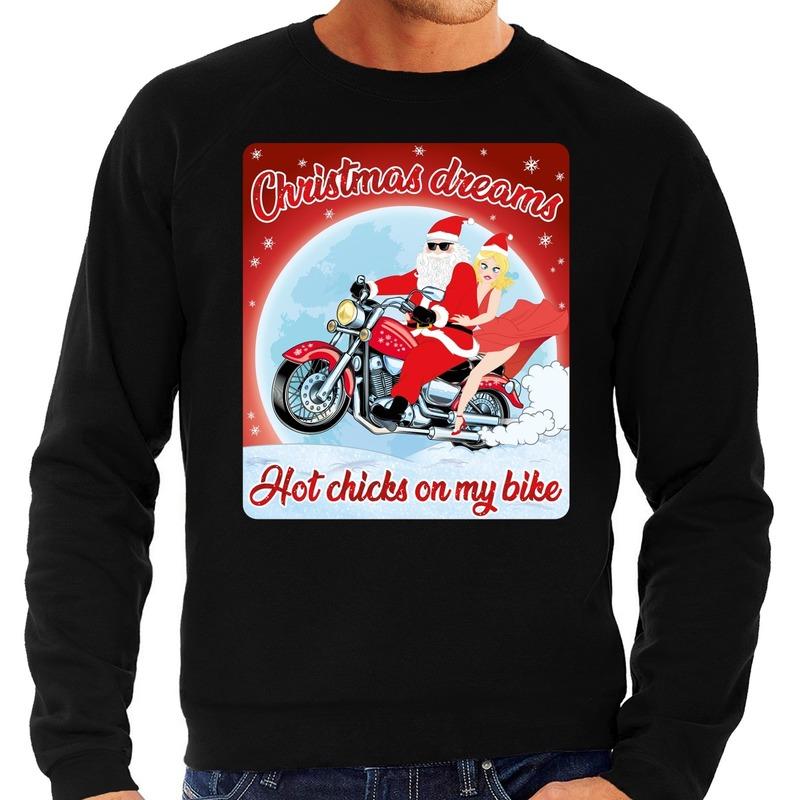 Foute kersttrui voor motorliefhebbers hot chicks zwart heren