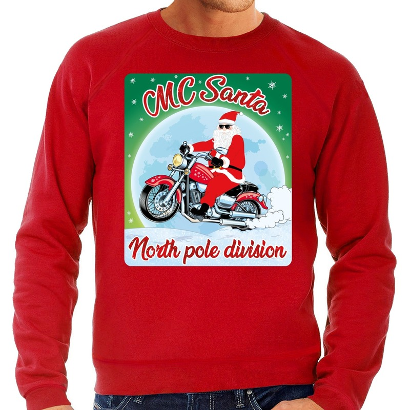Foute Kersttrui voor motorliefhebers MC Santa rood voor heren
