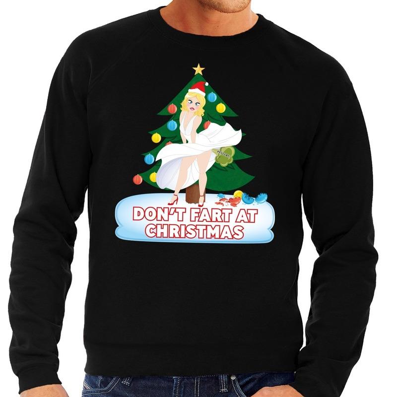 Foute kersttrui zwart Dont Fart at Christmas voor heren