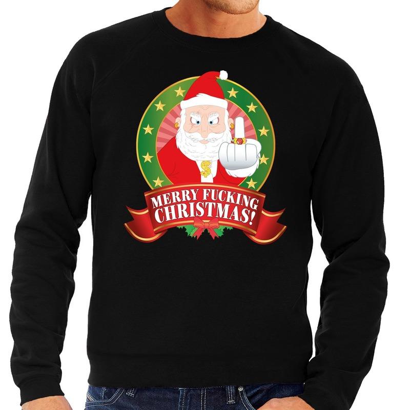 Foute kersttrui zwart Merry Fucking Christmas voor heren